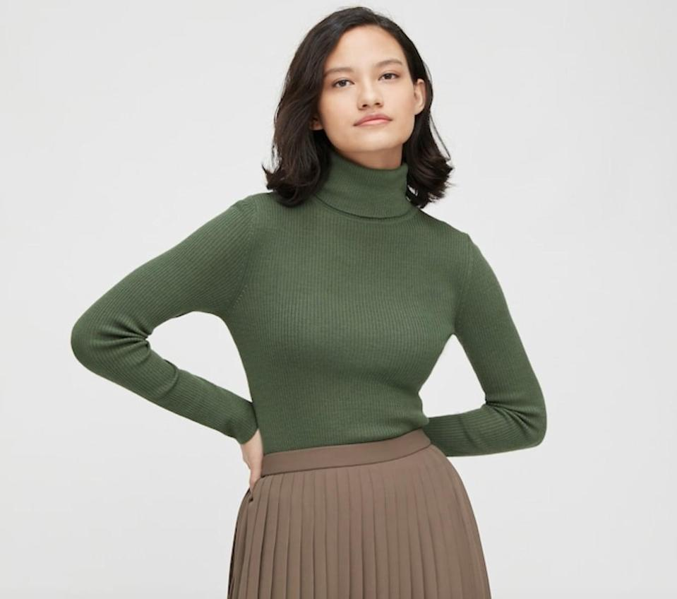 <p>This <span>Uniqlo Fine Merino Ribbed Turtleneck Sweater</span> ($40) will become a favorite everyday piece.</p>