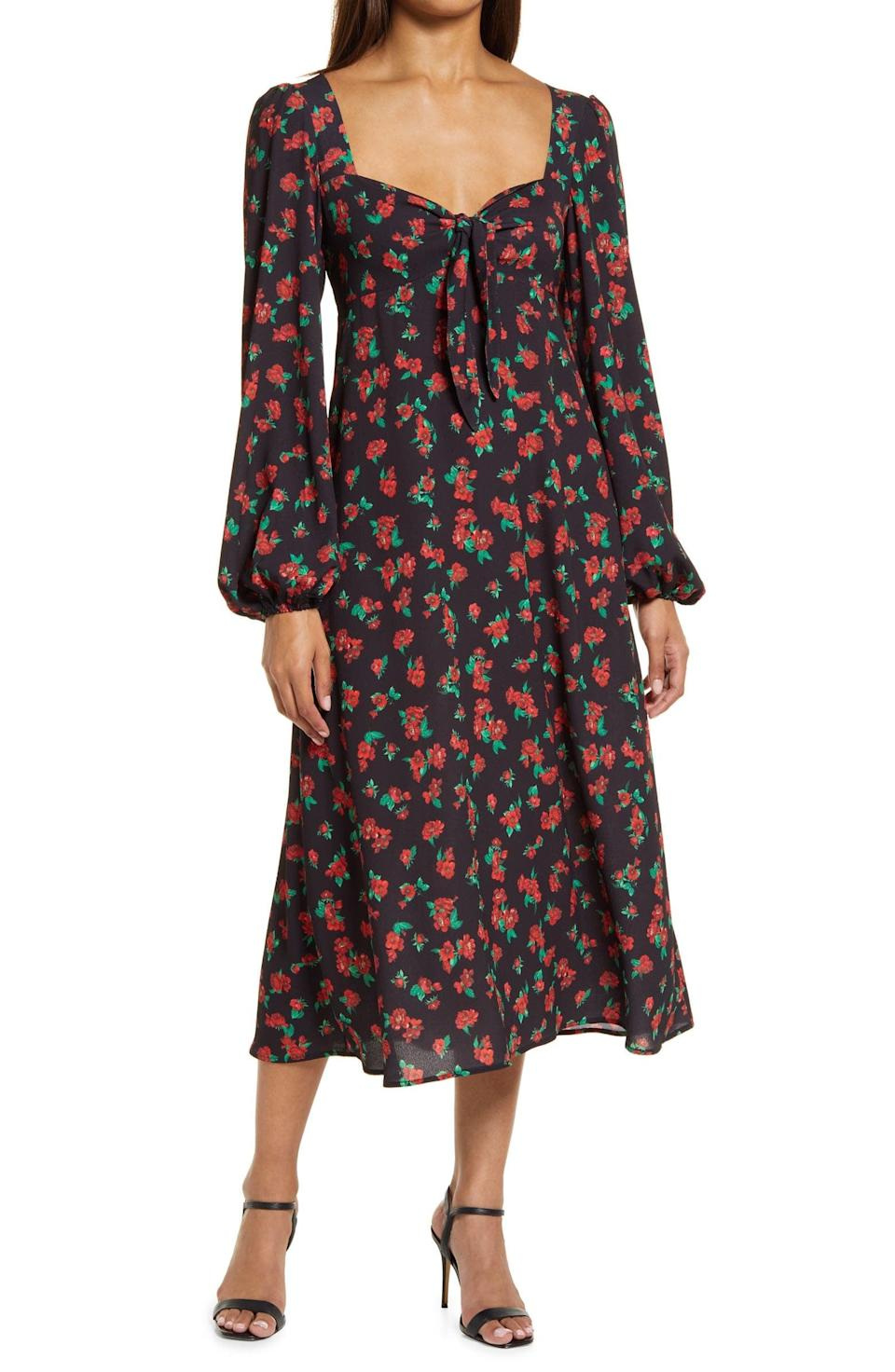 <p>This brand-new <span>Fourteenth Place Puff Long-Sleeve Tie Front Dress</span> ($69) includes a sweetheart neckline and midi length. It will look just as great in winter and spring.</p>
