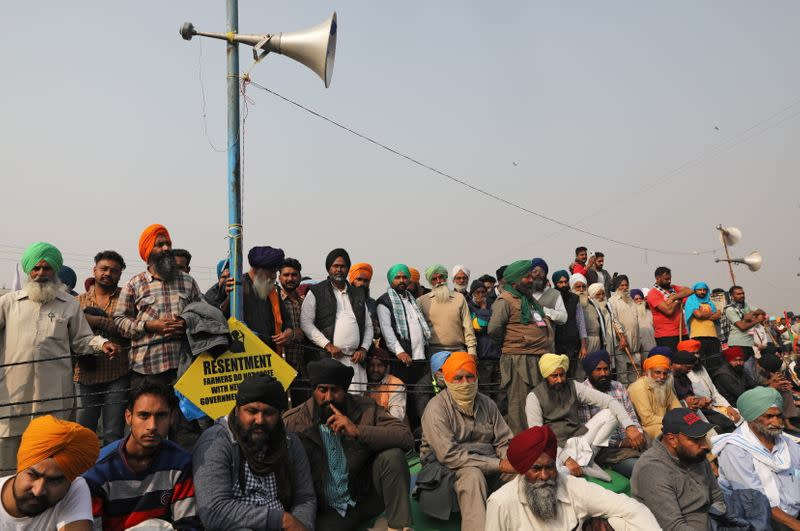 Protest against farm bills at Singhu border near Delhi