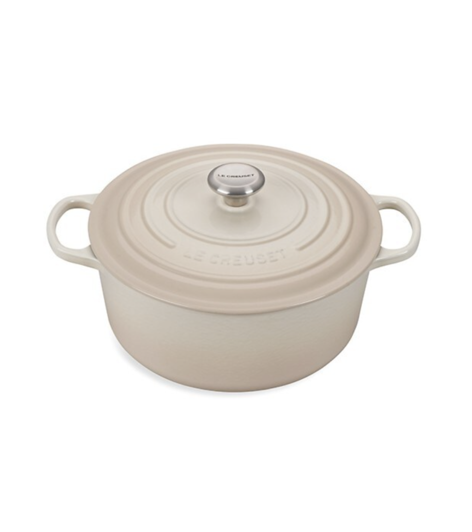 """<p><strong>Le Creuset</strong></p><p>saksfifthavenue.com</p><p><strong>$410.00</strong></p><p><a href=""""https://go.redirectingat.com?id=74968X1596630&url=https%3A%2F%2Fwww.saksfifthavenue.com%2Fproduct%2Fle-creuset-7.25-quart-signature-cast-iron-round-dutch-oven-0400094129394.html&sref=https%3A%2F%2Fwww.harpersbazaar.com%2Fwedding%2Fplanning%2Fg36435226%2Flast-minute-wedding-gift-ideas%2F"""" rel=""""nofollow noopener"""" target=""""_blank"""" data-ylk=""""slk:SHOP NOW"""" class=""""link rapid-noclick-resp"""">SHOP NOW</a></p><p>Foodies will likely register for one of these, but for those who aren't kitchen connoisseurs, a dutch oven will look just as good displayed in a kitchen as it will when put to use. Gift this along with a cookbook for novices and experts alike.</p>"""