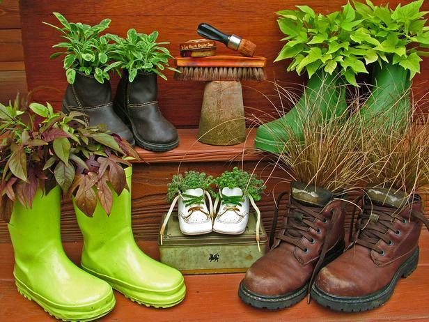 """<div class=""""caption-credit"""">Photo by: Nancy Ondra</div><div class=""""caption-title"""">Thrifting With Shoes</div>Sneakers, shoes and boots in either plastic or leather make absolutely adorable holders for individual flowering or foliage plants. Sit them on the ground, prop them up on a rack or hang them on a wall or fence."""