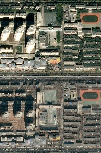 A satellite image taken in October 2014 shows the Grand Mosque of Karamay in Xinjiang, while another taken in March 2019 shows its dome removed (AFP Photo/Handout)