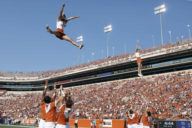 The Texas Longhorns cheerleaders perform in the third quarter against the San Jose State Spartans at Darrell K Royal-Texas Memorial Stadium on September 9, 2017, in Austin, Texas. (Getty file photo)