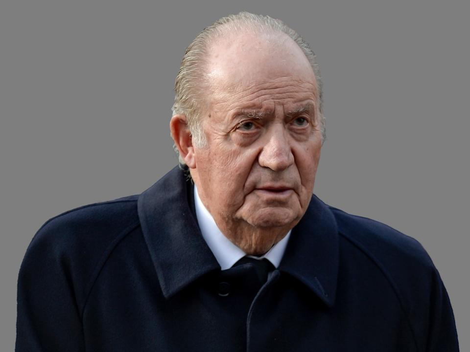 Juan Carlos I headshot, former King of Spain, graphic element on gray