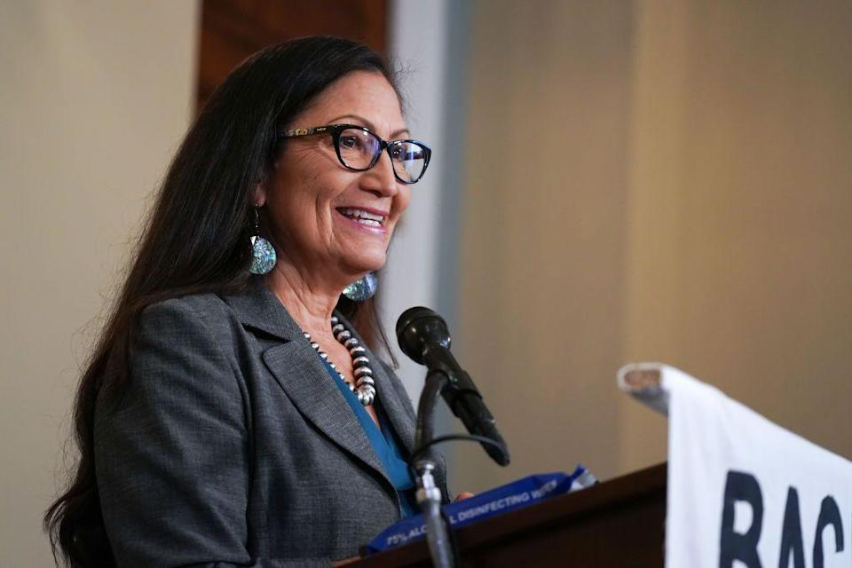 """<p>On Tuesday, more Native American people were elected to congress than ever before with six indigenous people winning their races. <a href=""""https://www.theguardian.com/us-news/2020/nov/04/native-american-women-elected-congress-record-number"""" rel=""""nofollow noopener"""" target=""""_blank"""" data-ylk=""""slk:The Guardian"""" class=""""link rapid-noclick-resp"""">The Guardian </a>reported that a record number of Native American women are in congress with Democrats Deb Haaland (pictured) and Sharice Davids retaining their seats and Republican Yvette Herrell winning in New Mexico.</p>"""