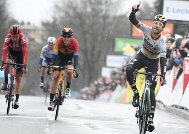 Maximilian Schachmann led home Dylan Teuns, Tiesj Benoot and Julian Alaphilippe at the end of a damp opening stage of Paris-Nice (AFP Photo/Alain JOCARD)