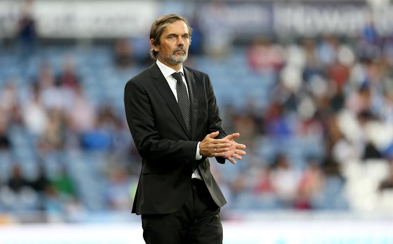 New era: Derby County's latest new manager, Dutch legend Phillip Cocu, looks on during the Rams opening weekend win away at Huddersfield on Monday night. (Photo by Lewis Storey/Getty Images)