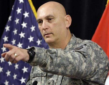 General Ray Odierno holds a news conference at Camp Victory in Baghdad