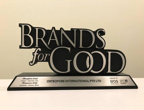Osteopore wins Champion for Patent Improving Lives and Winner for Community 2019 awards at Brands for Good