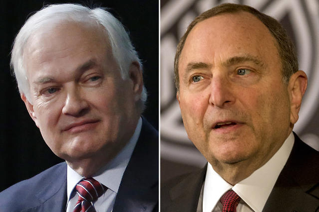 FILE - At left, in a 2015 file photo, is NHL Players Association executive director Donald Fehr. At right, in a 2018 file photo, is NHL commissioner Gary Bettman. No news getting out seems to be good news as the NHL and NHL Players' Association discuss a potential extension of the collective bargaining agreement. With the players' Sept. 15 deadline to decide whether to reopen the CBA fast-approaching, dialogue between the two sides continues to be cordial, professional and constructive _ a drastic change from previous labor talks in a sport that has become known for periodic work stoppages. (AP Photo/File)