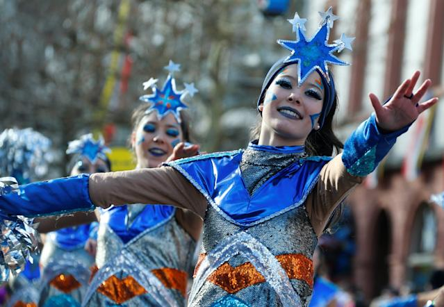 "<p>Carnival revellers at the traditional ""Rosenmontag"" Rose Monday carnival parade in Mainz, Germany, Feb. 12, 2018. (Photo: Ralph Orlowski/Reuters) </p>"