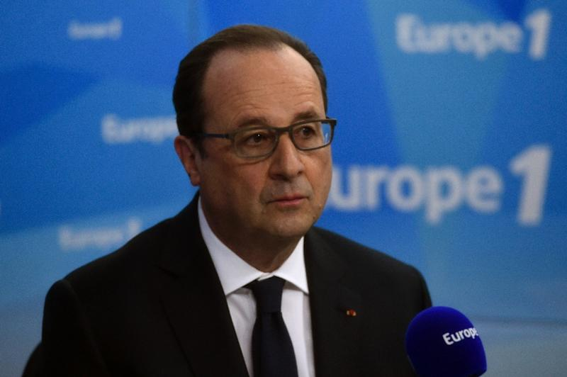 France President Francois Hollande told Europe 1 he would pursue his labour market reforms, during an hour-long interview in paris, on May 17, 2016 (AFP Photo/Miguel Medina)