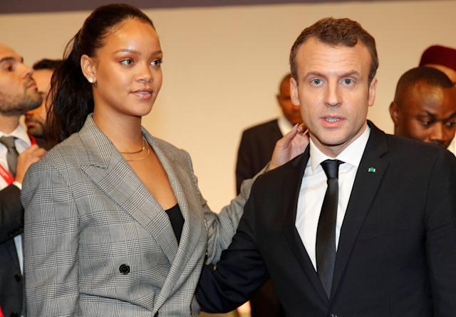 "French President Emmanuel Macron and singer Rihanna attend the ""GPE Financing Conference, an Investment in the Future"" organised by the Global Partnership for Education in Dakar, Senegal, February 2, 2018. REUTERS/Philippe Wojazer"