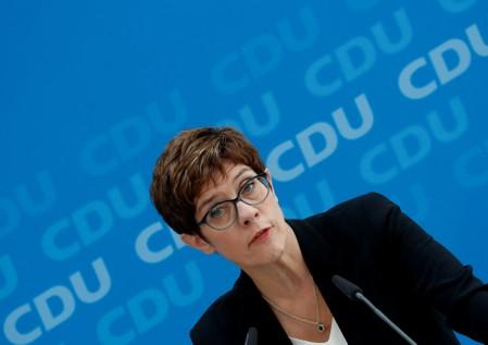 CDU Chairwoman Kramp-Karrenbauer addresses a news conference at party headquarters in Berlin