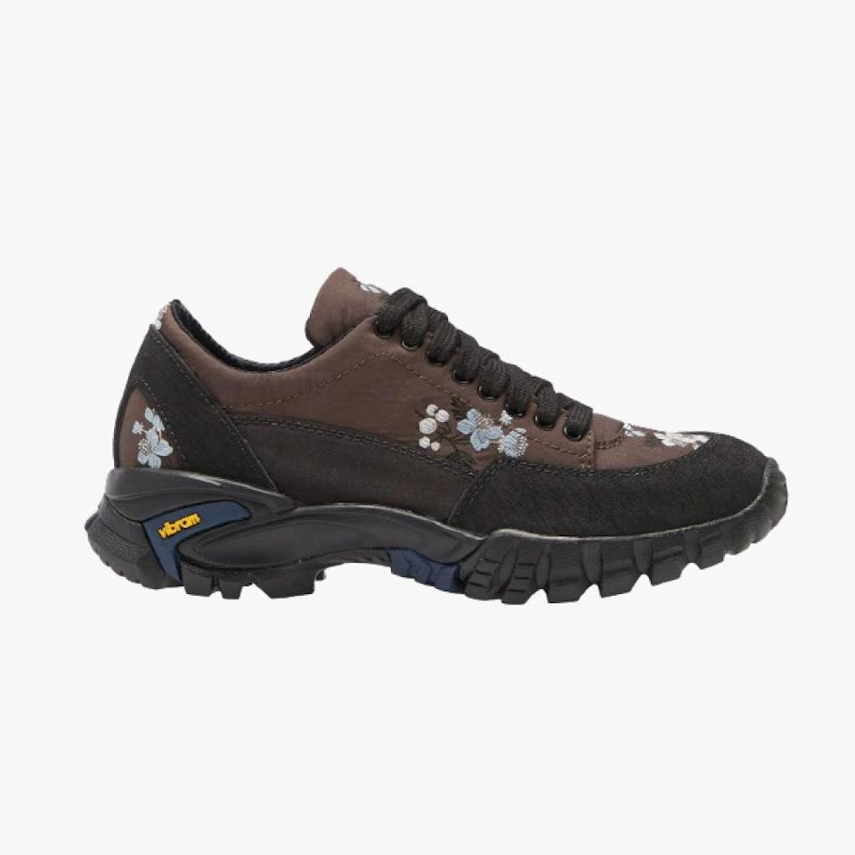 """Cecilie Bahnsen's hiking sneakers are great for outdoor walks and navigating city streets. $515, NORDSTROM. <a href=""""https://www.nordstrom.com/s/cecilie-bahnsen-max-floral-taffeta-hiking-sneaker-women/5668102?origin=category-personalizedsort&breadcrumb=Home%2FDesigner%2FSPACE%3A%20Emerging%20%26%20Advanced%20Designer%2FShop%20All&color=brown%20multi"""" rel=""""nofollow noopener"""" target=""""_blank"""" data-ylk=""""slk:Get it now!"""" class=""""link rapid-noclick-resp"""">Get it now!</a>"""