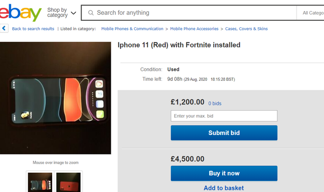 eBay sellers attempt to flog iPhones with Fortnite installed for thousands
