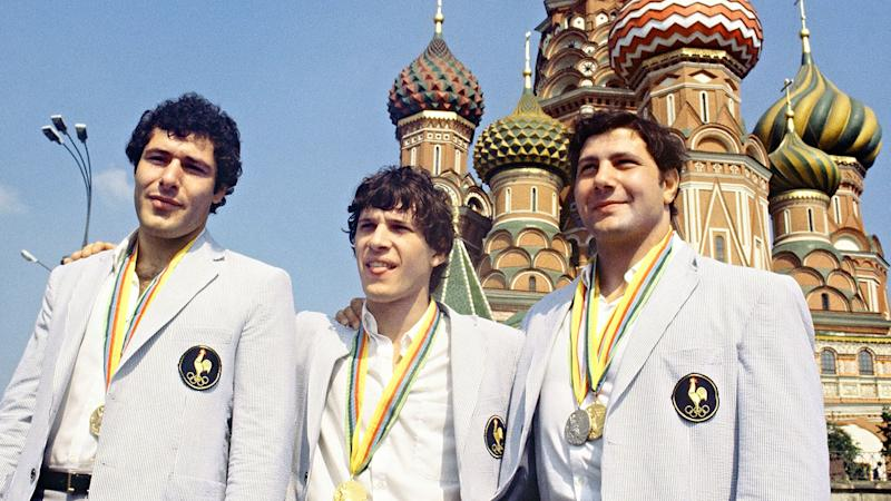 Pictured here, French judo medalists pose for a photo at the1980 Olympic Games.
