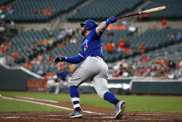 Toronto Blue Jays' Kevin Pillar watches his solo home run during the second inning of the team's baseball game against the Baltimore Orioles, Wednesday, Aug. 29, 2018, in Baltimore. (AP Photo/Patrick Semansky)