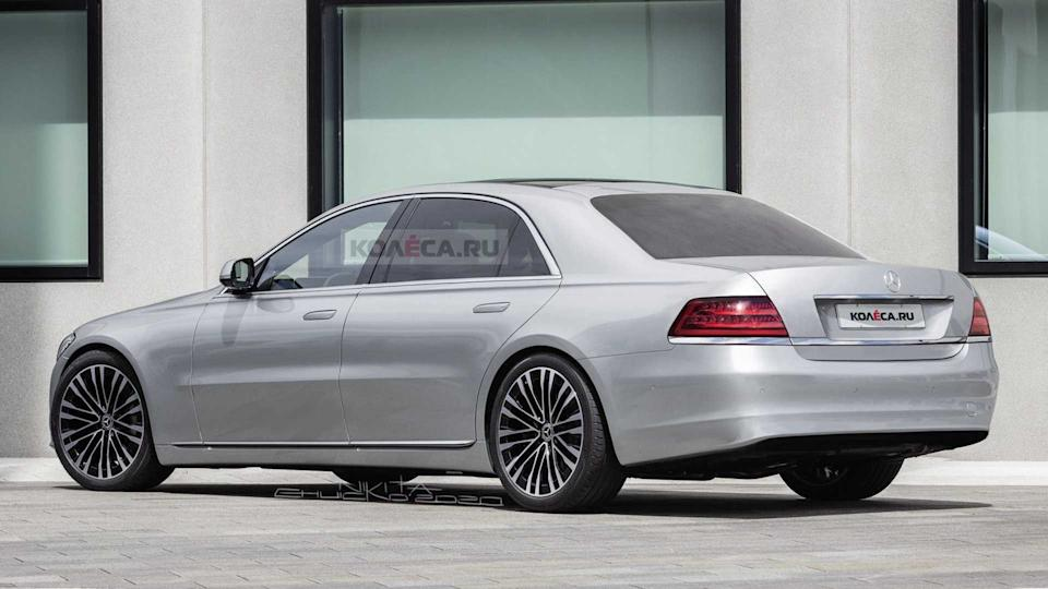2021 Mercedes S-Class rendered with W140 cues