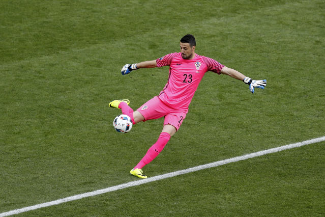 FILE - In this Friday, June 17, 2016 filer, Croatia goalkeeper Danijel Subasic kicks the ball during the Euro 2016 Group D soccer match between the Czech Republic and Croatia at the Geoffroy Guichard stadium in Saint-Etienne, France. (AP Photo/Michael Sohn)