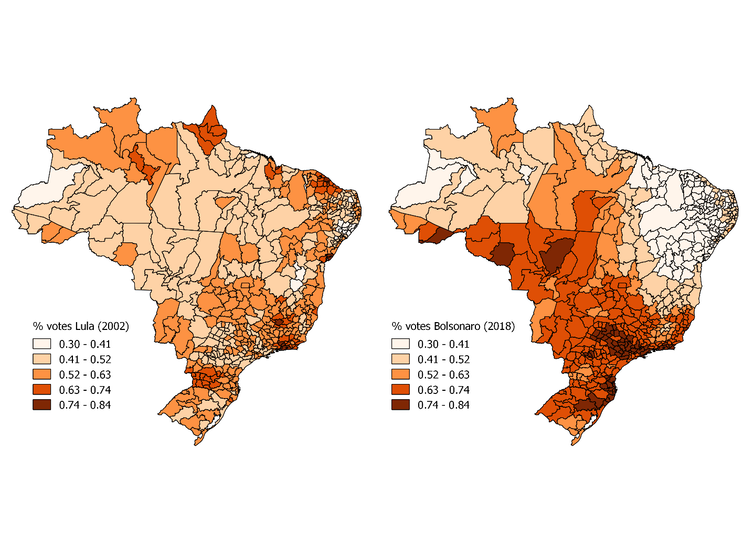 Two maps of Brazil showing which regions supported Lula and Bolsonaro.