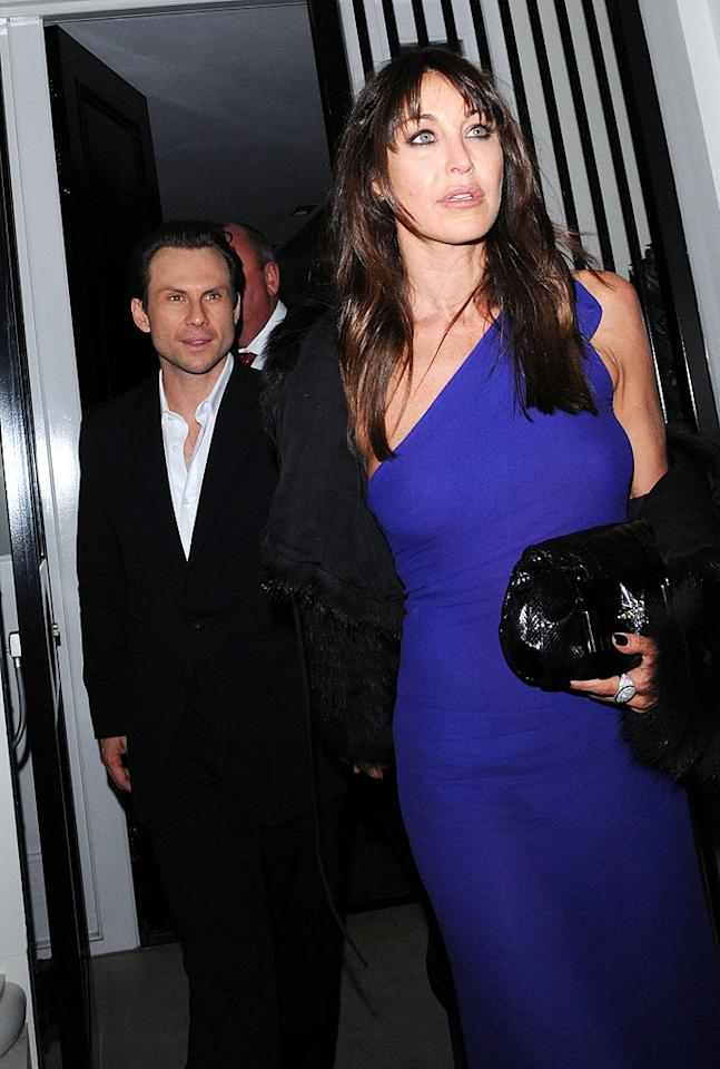 "Christian Slater partied the night away with girlfriend Tamara Mellon. Tamara is the president and founder of the Jimmy Choo shoe line. Martin Grimes/<a href=""http://www.splashnewsonline.com"" target=""new"">Splash News</a> - December 5, 2008"