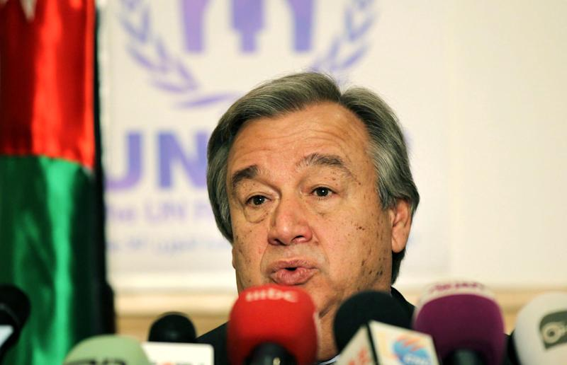 """The U.N. refugee agency chief Antonio Guterres speaks during a press conference in Amman, Jordan, Wednesday, March 13, 2013. Guterres, warns of an """"explosion"""" in the Middle East, if the Syrian conflict continues, and calls on governments to approve """"extraordinary funds"""" to meet an enveloping humanitarian crisis. (AP Photo/Raad Adayleh)"""