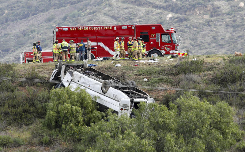 A bus rolled down an embankment off Interstate 15 in North San Diego County Saturday, Feb. 22, 2020, killing several people and injuring others. Emergency crews rescued several people trapped in the wreckage after the bus crashed around 10:20 a.m. on State Route 76, about 45 miles (72 kilometers) north of San Diego, the North County Fire Protection District said. (Don Boomer/The San Diego Union-Tribune via AP)