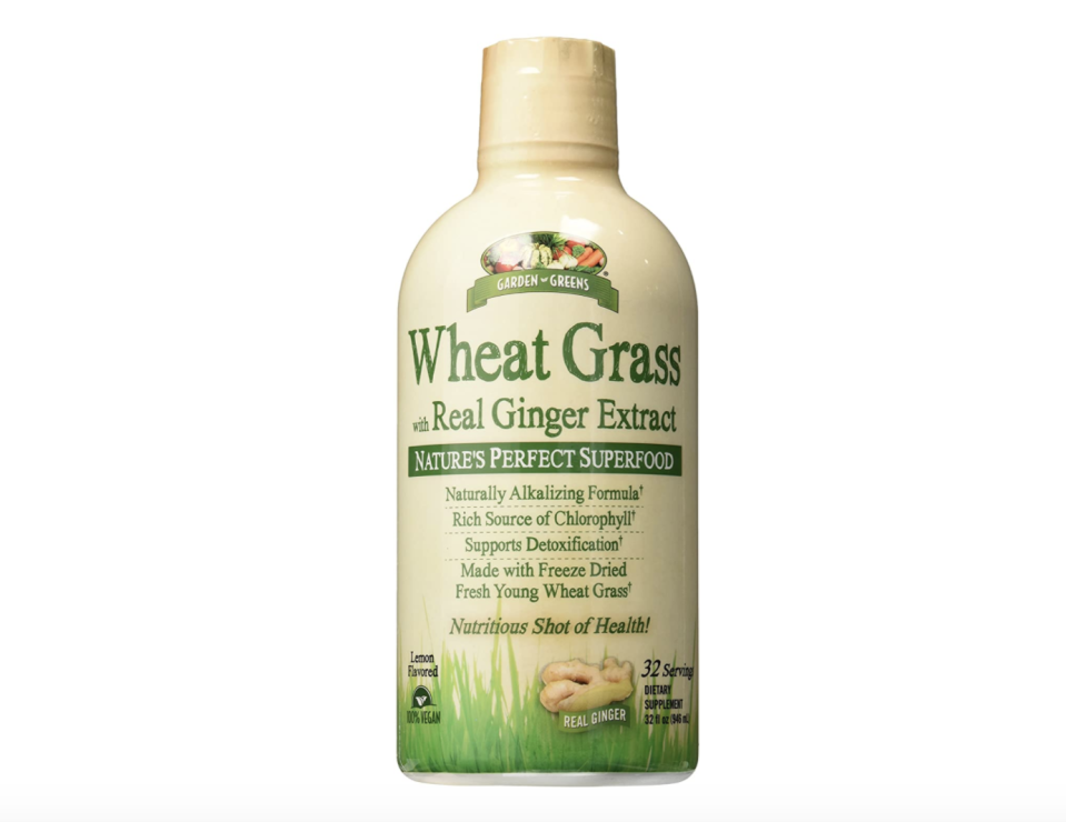"<p><strong>Garden Greens</strong></p><p>amazon.com</p><p><strong>$13.10</strong></p><p><a href=""https://www.amazon.com/dp/B01IKNG3SG?tag=syn-yahoo-20&ascsubtag=%5Bartid%7C1782.g.32918809%5Bsrc%7Cyahoo-us"" rel=""nofollow noopener"" target=""_blank"" data-ylk=""slk:BUY NOW"" class=""link rapid-noclick-resp"">BUY NOW</a></p><p>Though it may sound foreign, wheatgrass actually comes from the same plant common flour does. ""Some studies show wheatgrass contains immuno-stimulating effects,"" says Valdez. ""But further research is needed as these have not been replicated."" </p><p>However, the stuff is chock-full of vitamins A, C, E, iron, magnesium, calcium, and chlorophyll. Feller points out that these antioxidants protect against cellular damage and reduce oxidative stress on the body.</p>"
