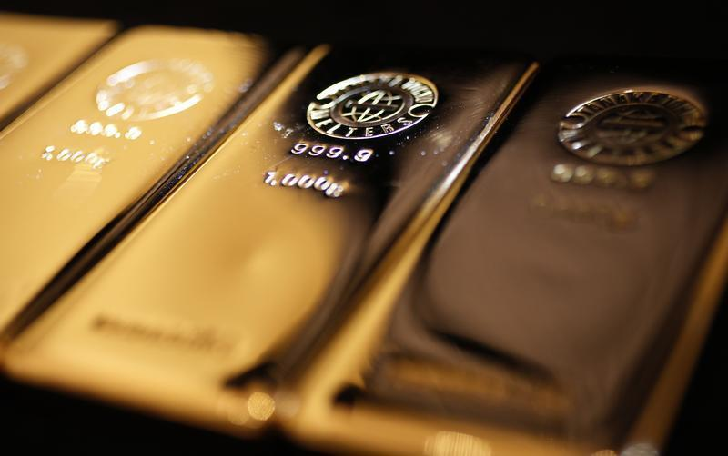 Gold bars are displayed at the Ginza Tanaka store in Tokyo