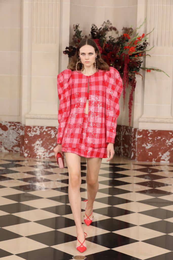 Sequined pink-and-red gingham at Carolina Herrera. - Credit: WWD
