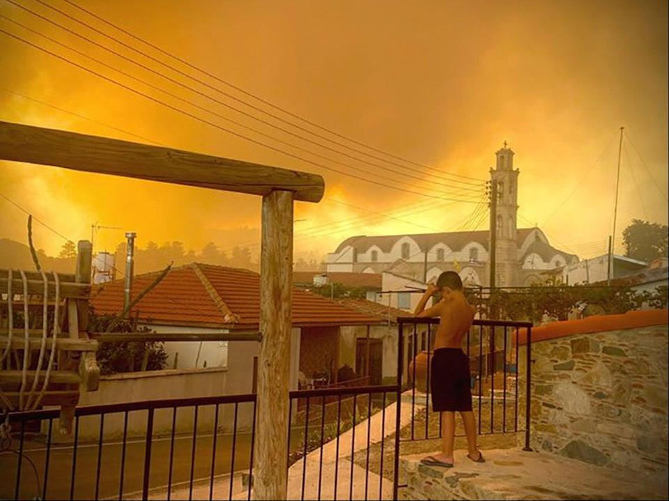 Smoke from the fire seen from Ora village in Larnaca, Cyprus (via Reuters)