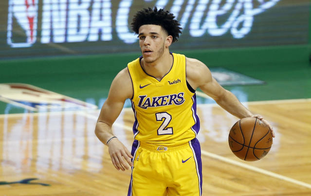 "<a class=""link rapid-noclick-resp"" href=""/nba/teams/lal/"" data-ylk=""slk:Los Angeles Lakers"">Los Angeles Lakers</a> rookie <a class=""link rapid-noclick-resp"" href=""/ncaab/players/136151/"" data-ylk=""slk:Lonzo Ball"">Lonzo Ball</a> is putting up solid assist and rebound numbers but his shooting continues to be a major issue. (AP Photo/Winslow Townson)"