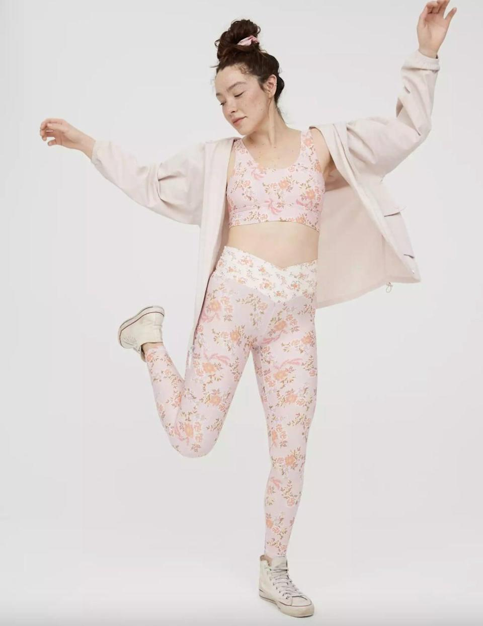 <p>I've been seeing these <span>Aerie OFFLINE Real Me High-Waisted Floral Crossover Leggings</span> ($27, originally $45) all over TikTok, and now I think I need them too. The mixed print is worthy of an Instaqram snap.</p>