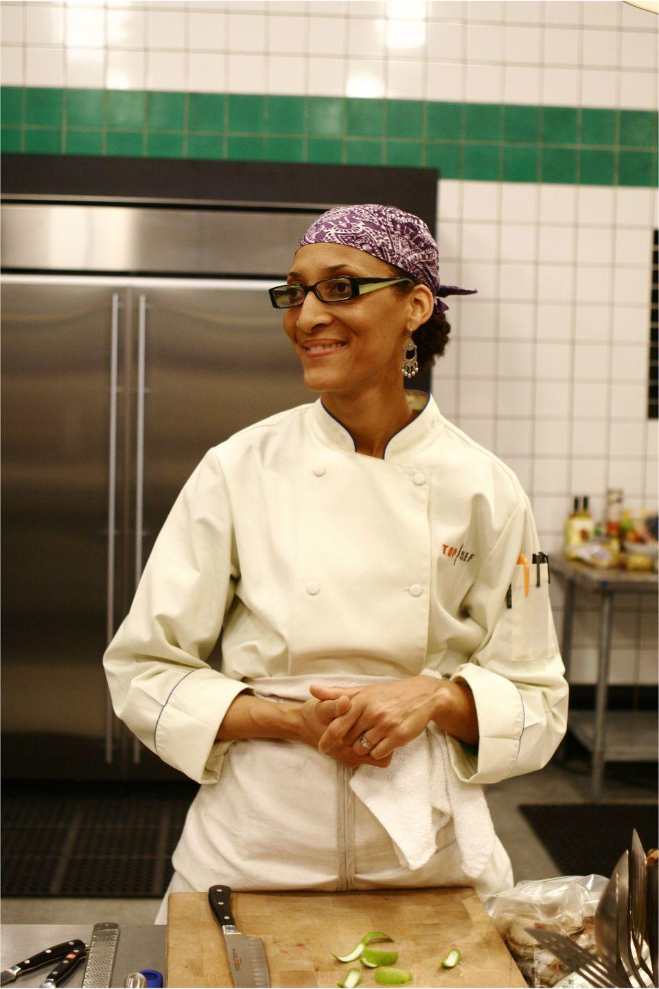 <p>It was Carla Hall's sunny demeanor and touch of soul food that warmed audiences to her when she appeared on season five of <em>Top Chef</em>. She returned for the all-star competition in season eight. </p>