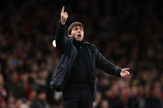 "Antonio Conte during <a class=""link rapid-noclick-resp"" href=""/soccer/teams/chelsea/"" data-ylk=""slk:Chelsea"">Chelsea</a>'s Wednesday match against <a class=""link rapid-noclick-resp"" href=""/soccer/teams/arsenal/"" data-ylk=""slk:Arsenal"">Arsenal</a>. (Getty)"