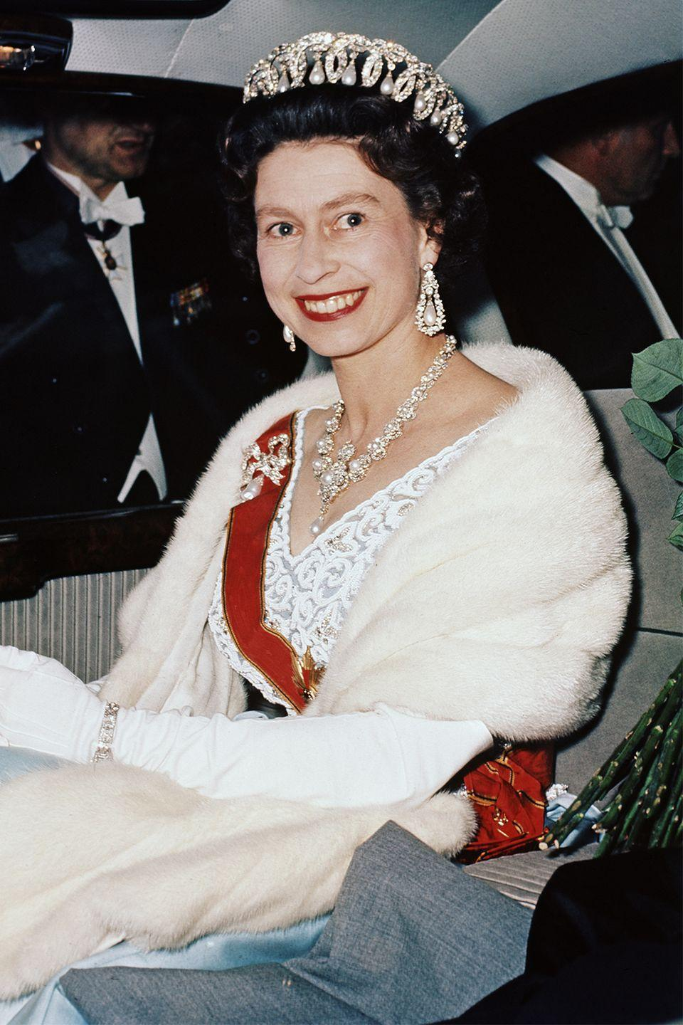 <p>Queen Elizabeth decked out in jewels in 1965. </p>
