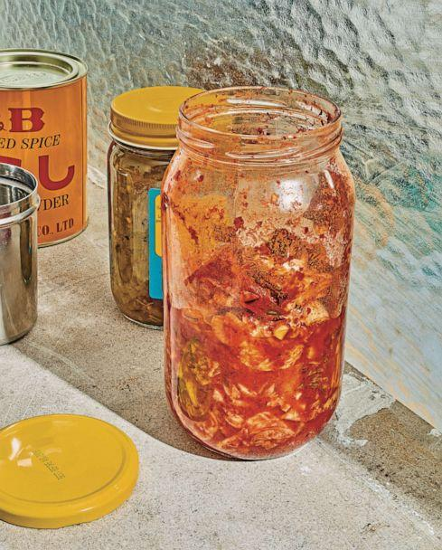 PHOTO: Kitchen scrap kimchi is a spicy, tangy fermented condiment that can stretch the life of vegetables. (Keirnan Monaghan and Theo Vamvounakis)