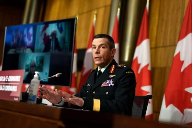 Maj.-Gen. Dany Fortin, vice-president of logistics and operations at the Public Health Agency of Canada, participates in a news conference on the COVID-19 pandemic in Ottawa, on Friday, Jan. 15, 2021. Fortin said he is expecting a 'massive increase' in COVID-19 shots in the coming weeks. (Justin Tang/Canadian Press - image credit)