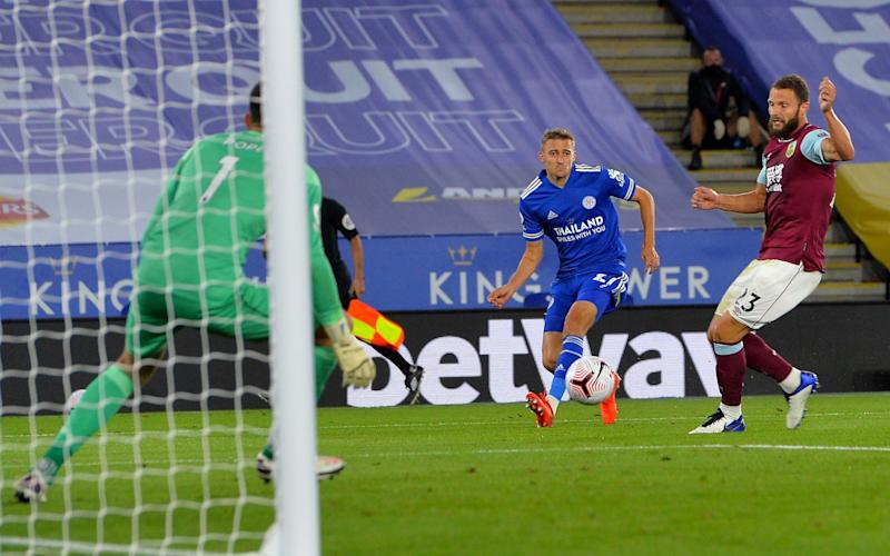Timothy Castange of Leicester City scores Leicesters second after his shot deflected in off Erik Pieters of Burnley during the Premier League match between Leicester City and Burnley at The King Power Stadium on September 20, 2020 in Leicester, United Kingdom. - GETTY IMAGES