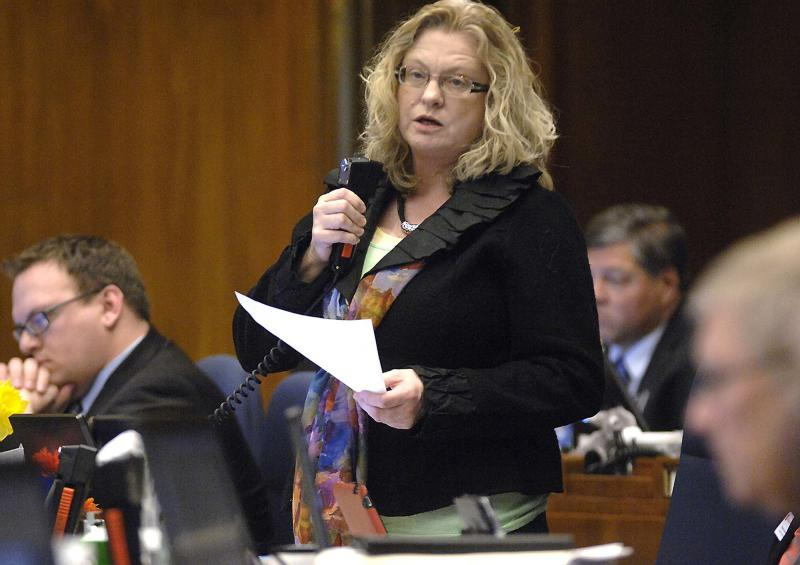 Rep. Gail Mooney, D-Cummings, speaks against division A of SB2303 during floor debate, Friday, March 22, 2013 at the state Capitol in Bismarck, N.D. Long dismissed as cold and inconsequential, North Dakota is now trying to enact the toughest abortion restrictions in the nation. The newly oil-rich red state may soon find itself in a costly battle over legislation foes describe as blatantly unconstitutional.  (AP Photo/The Bismarck Tribune, Mike McCleary)