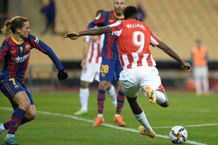 Athletic Bilbao's Inaki Williams shoots and scores Athletic's third goal during the Spanish Super Cup final