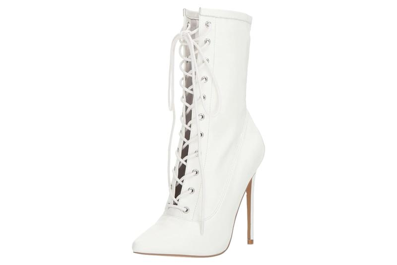 steve madden lace up boots, white, boots