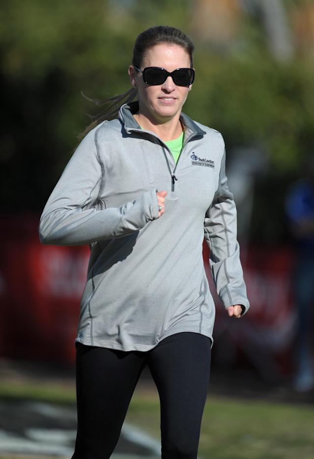CAPTION: Dec 10, 2011; San Diego, CA, USA; Suzy Favor-Hamilton at the 2011 Foot Locker cross country championships at Morley Field. Mandatory Credit: Kirby Lee/Image of Sport-USA TODAY Sports