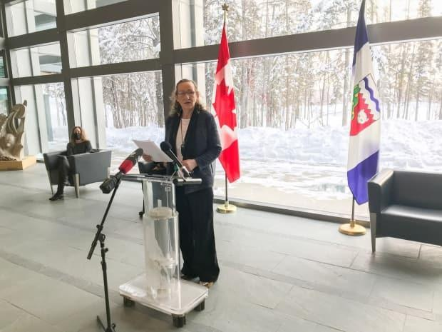 N.W.T. Premier Caroline Cochrane speaks during a COVID-19 update in Yellowknife Wednesday. Territorial health officials announced teachers will get priority access to the vaccine.
