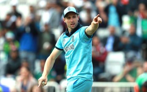 An annoyed Chris Woakes points to a person in the crowd - Credit: getty images