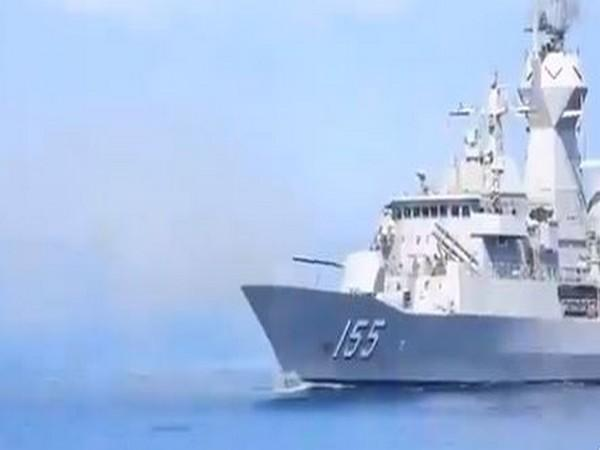 Malabar 20 naval exercise underway in Bay of Bengal on Friday. photo/ANI