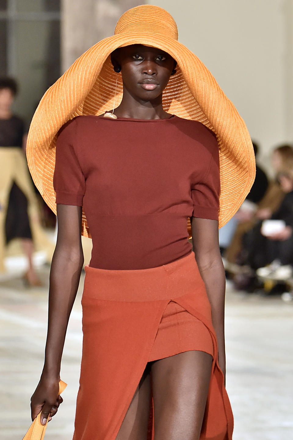 A model walks the runway during the Jacquemus Ready-to-Wear Fall/Winter 2018-2019 fashion show during Paris Fashion Week Womenswear Fall/Winter 2018/2019 on February 26, 2018 in Paris, France. (Photo: Victor VIRGILE/Gamma-Rapho via Getty Images)