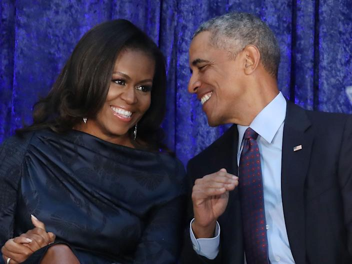 Former US President Barack Obama and first lady Michelle Obama participate in the unveiling of their official portraits (Getty Images)