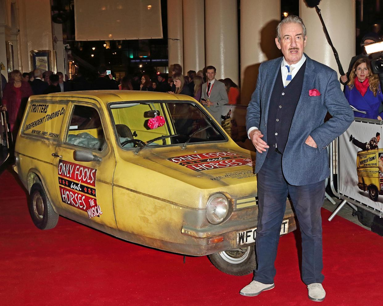 LONDON, -, UNITED KINGDOM - 2019/02/19: John Challis seen during the Only Fools and Horses Press night at the Theatre Royal Haymarket in London. (Photo by Keith Mayhew/SOPA Images/LightRocket via Getty Images)